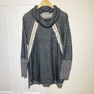 Maurices Charcoal Lace Cowl Neck Pullover Tunic
